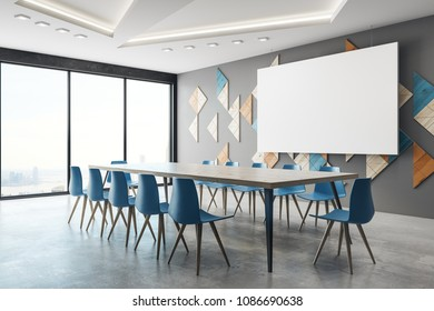 Side view of modern conference room interior with blank billboard and city view. Mock up, 3D Rendering