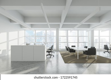 Side view of modern Industrial style open space office with white walls, concrete floor, rows of computer tables and panoramic windows with blurry cityscape. 3d rendering