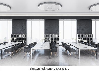 Side view of modern library interior with bookshelves and window with city view. 3D Rendering