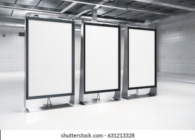 Side view of modern light interior with three blank posters. Mock up, 3D Rendering