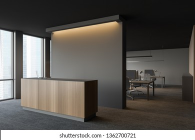 Side view of modern office with open space area, dark gray walls, carpeted floor and gray and wooden reception desk. 3d rendering