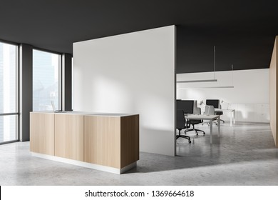 Side view of modern office with open space area, white, gray and wooden walls, concrete floor and white and wooden reception desk. 3d rendering