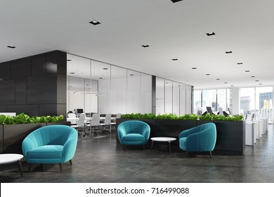 Side view of a modern office waiting area with blue armchairs, a coffee table, glass wall offices and a flower bed. 3d rendering mock up
