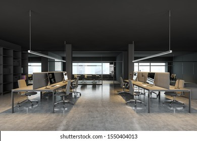 Side view of modern open space office with dark gray walls, concrete floor, row of gray computer tables with chairs and bookcase with folders. Conference room in background. 3d rendering