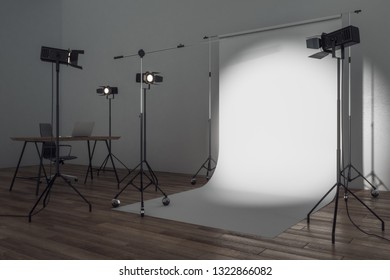 Side view of modern photo studio with professional lighting equipment and white background. Photgraphy concept. Mock up, 3D Rendering