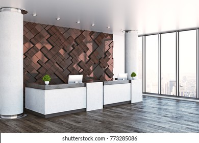 Side view of modern reception desk with empty poster in interior with city view and daylight. Office lobby concept. Mock up, 3D Rendering