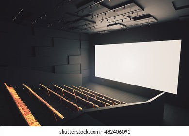 Side view of movie theater interior with rows of seats and blank white screen. Mock up, 3D Rendering
