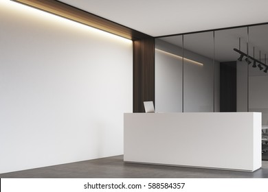 Side view of a new office lobby with wooden decoration elements, white and elegant reception counter, an office with glass walls, clean and bright. 3d rendering. Mock up.
