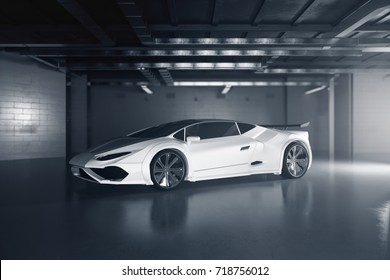 Side view of new white sportscar inside grunge garage. Race concept. 3D Rendering