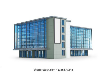 Side view of the office building. 3d illustration