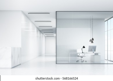 Side view of an office hall with a marble reception counter and an office with white furniture and glass walls. 3d rendering. Mock up.