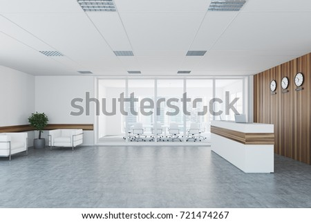 office lobby designs entrance side view of an office lobby interior with wooden and glass walls reception desk view office lobby interior wooden stock illustration 721474267