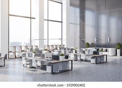 Side view on eco style minimalistic open space office with wooden tables, huge windows and white furniture. 3D rendering