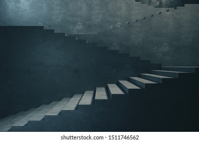 side view on industrial modern flight of stairs with a turn without rails. 3d rendering