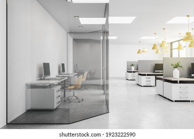 Side view on modern open space office with two isolated by glass walls workplaces. 3D rendering