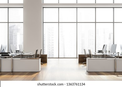 Side view of open space office with white walls, wooden floor, large windows with cityscape and black computer tables with metal chairs. 3d rendering
