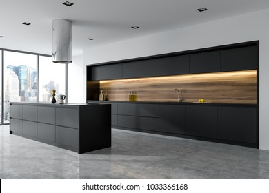 Side view of a panoramic black and wooden kitchen interior with black countertops and an island. 3d rendering mock up