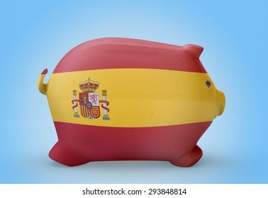 Side view of a piggy bank with the flag design of Spain.(series)