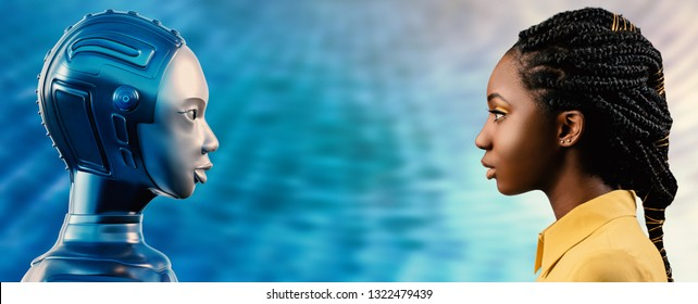 Side view portrait of attractive young African woman looking at 3D rendering robot avatar. 3D illustration of females looking at each other against blue background.