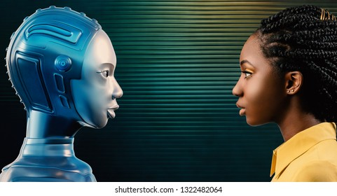 Side view portrait of attractive young black woman looking at her 3D rendering robot avatar. 3D illustration of females looking at each other against green futuristic background.