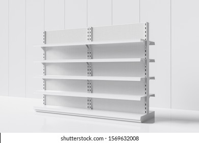 Side view of a realistic empty supermarket shelf on a white background. Concept of trade. 3d rendering