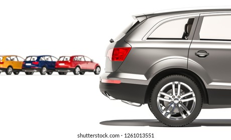 Side View of the Rear Part of a Hatchback Car 3D Rendering