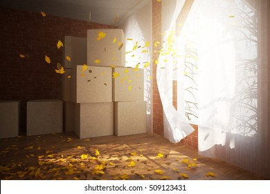 Side view of red brick room with cardboard boxes, daylight and wind with autumn leaves blowing from window. Moving concept. 3D Rendering