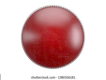 A side view of red cricket ball on an isolated background - 3D render