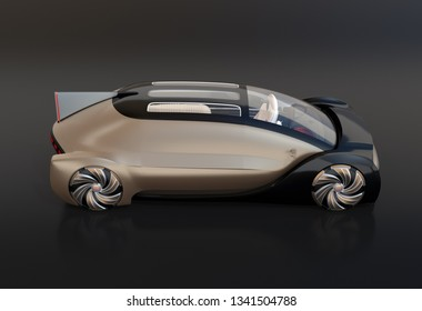 Side view of self driving electric car on black background. 3D rendering image.