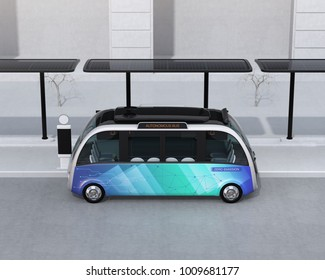 Side view of self-driving shuttle bus waiting at bus station. The bus station equipped with solar panels for electric power. 3D rendering image.