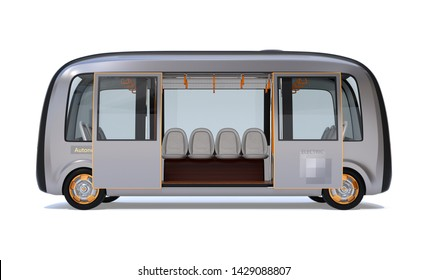Side view of self-driving shuttle bus with doors opened isolated on white background. 3D rendering image.