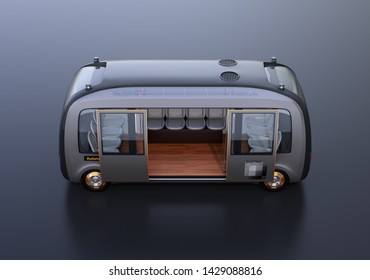 Side view of self-driving shuttle bus on black background. 3D rendering image.