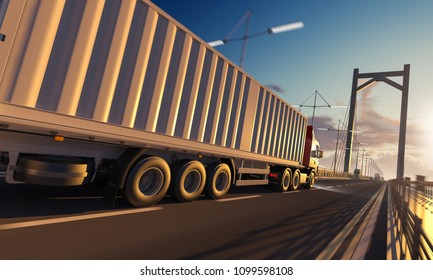 Side View of a Semi Trailer Container Truck over the Bridge 3d rendering