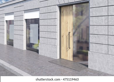 Side view of shop window with two posters and glass and wooden door. Concept of marketing and product placement, copyspace. 3d rendering, mockup