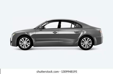 Side view of a silver sedan in 3D