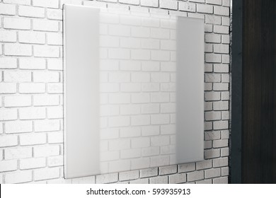 Side view of square white glass plate on brick wall background. Ad concept. Mock up, 3D Rendering