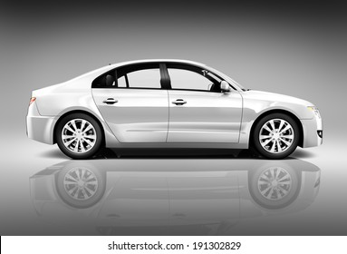 Side view studio shot of white car.