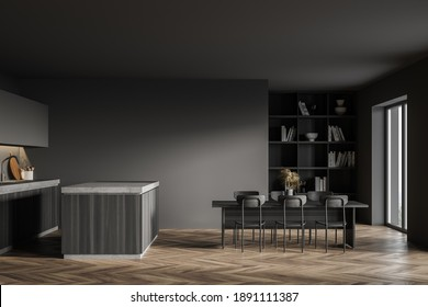 Side view of stylish kitchen with gray walls, wooden floor, wooden cupboard, dining table and island. 3d rendering