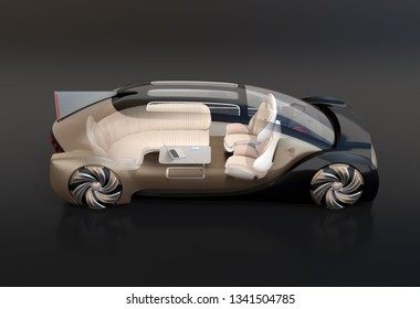 Side view of transparent self driving electric car on black background. Original design. 3D rendering image.