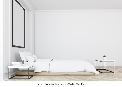Side view of a white bedroom interior with a double bed, a coffee table, a blank wall and a vertical picture on it. 3d rendering mock up
