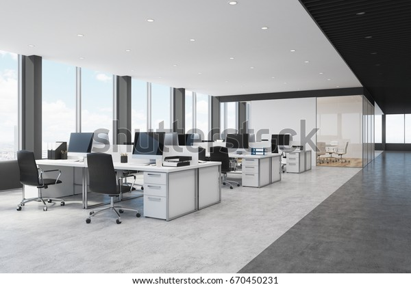 Side view of white and black open space office interior with rows of computer tables with desktops standing on them. 3d rendering mock up