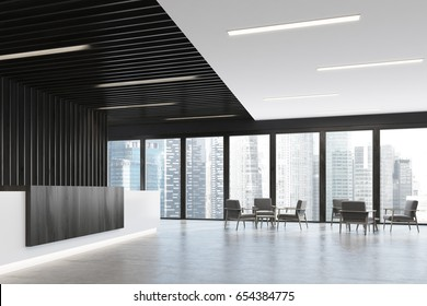 Side view of a white and black reception counter is standing in a black office lobby with wooden decoration elements. Armchairs in an empty hall. 3d rendering mock up