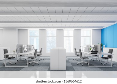 Side view of white and blue open space office with checkered floor, compact white computer tables and white cabinets. 3d rendering