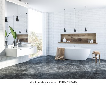 Side view of white brick bathroom interior with a concrete floor, a white bathtub, a round sink, several ceiling lamps and a wooden shelf with candles. 3d rendering