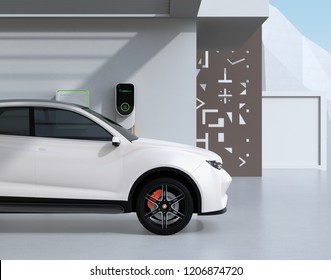Side view of white electric powered SUV recharging in garage. 3D rendering image.