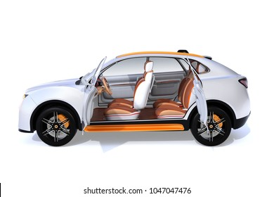 Side view of white Electric SUV concept car isolated on white background. 3D rendering image.