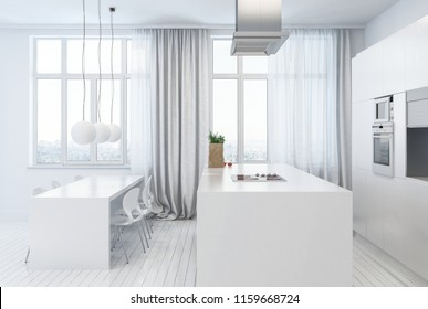 Side view of white kitchen with sphere lamps and dining table next to windows with curtains. Includes copy space. 3d Rendering.
