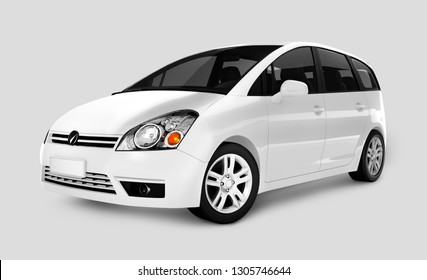 Side view of a white minivan in 3D