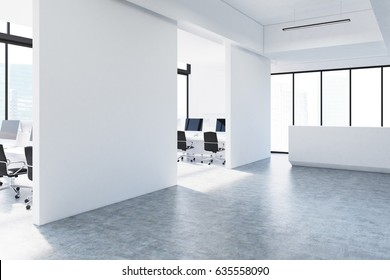 side view of a white open office interior with panoramic windows walls computer monitors m83 office