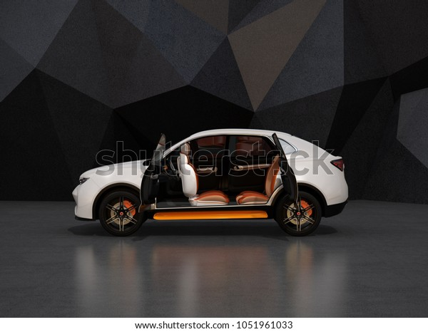 Side view of white self-driving electric SUV on black geometric background. Front seats rotated to backward. 3D rendering image.